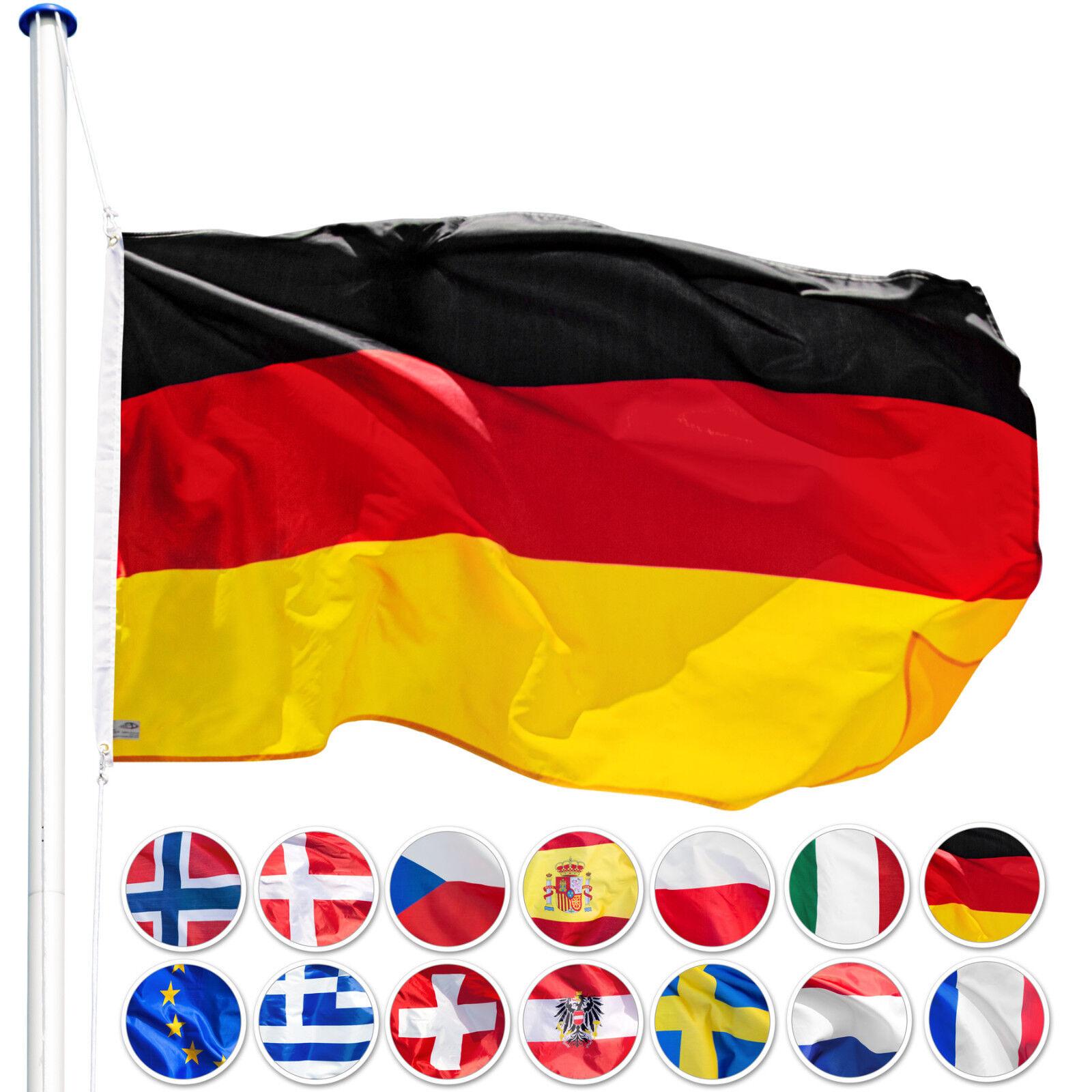Alu Fahnenmast 6,25 m Mast Flagge Seilzug Bodenhülse Flaggenmast plus Fahne Neu