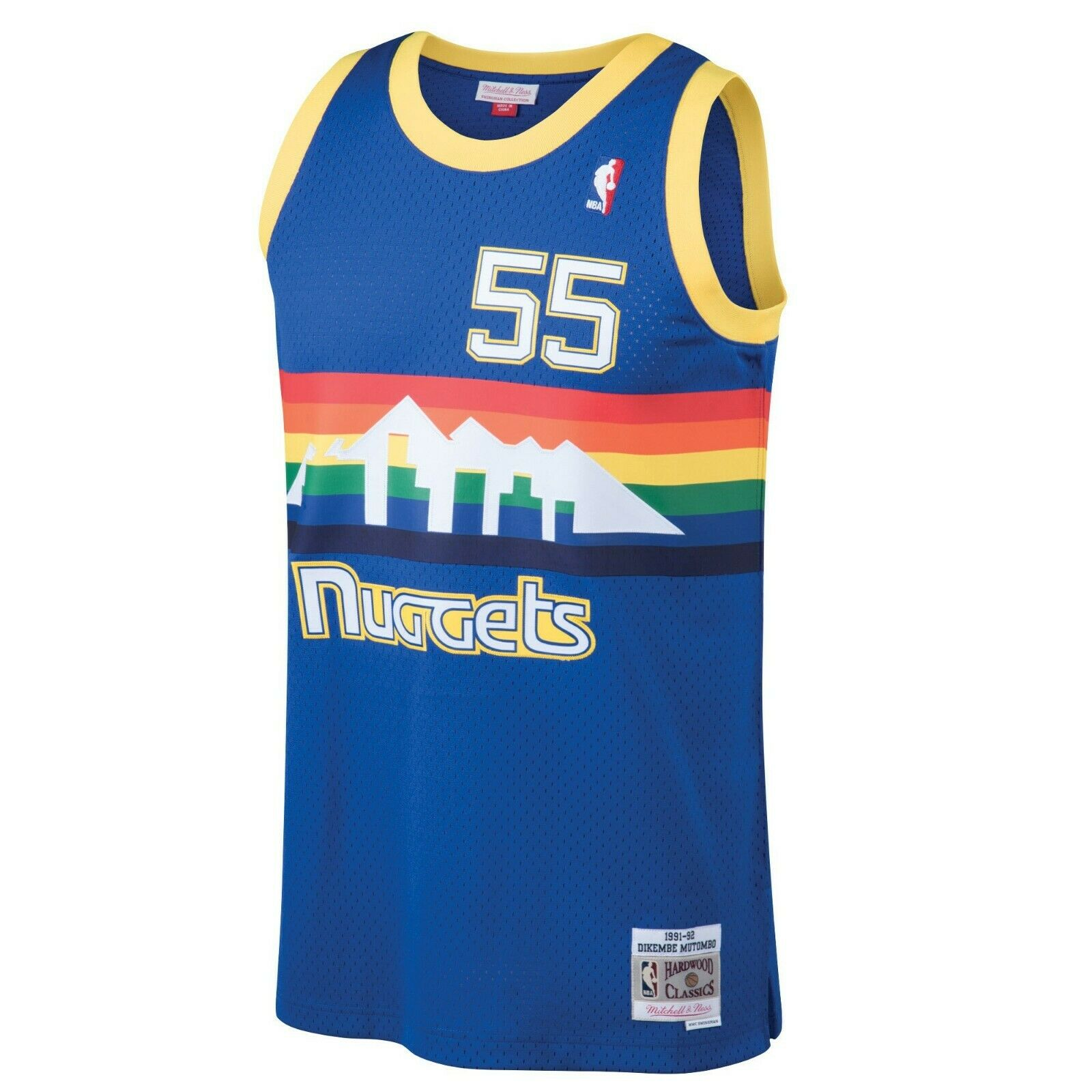 buy popular 66a68 70fd1 Details about Mitchell & Ness NBA Denver Nuggets #55 Mutombo Swingman Royal  Blue Jersey