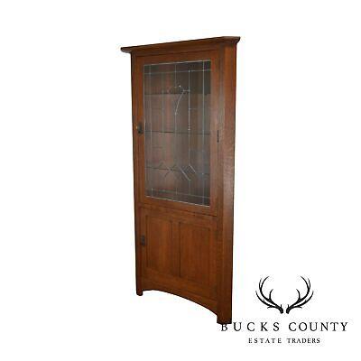 Stickley Mission Oak Collection Leaded Glass Corner Cabinet B for sale  Hatfield
