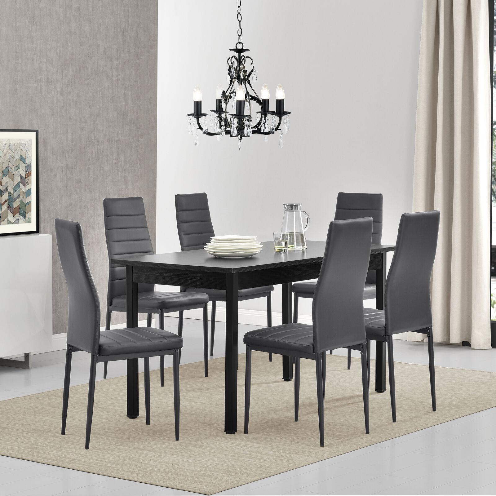 [en.casa]® Esstisch mit 6 Stühlen schwarz/grau 140x60 Küchentisch Esszimmertisch 61