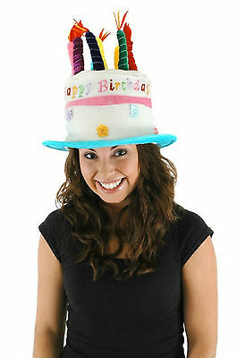 HAPPY BIRTHDAY CAKE HAT MULTICOLOR ADULT HALLOWEEN COSTUME ACCESSORY ONE SIZE