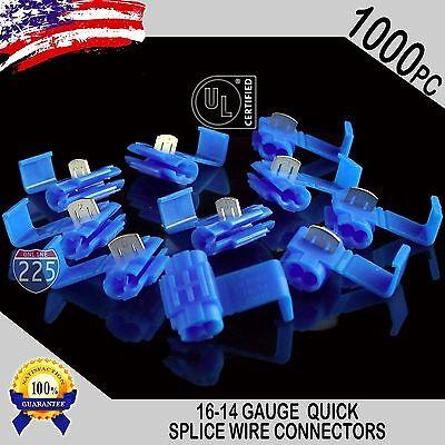 1000 Pack 16-14 Gauge Blue Quick Splice Tap Wire Connectors Install Terminals Ul