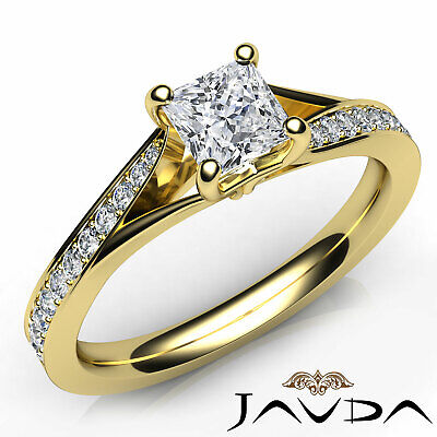 Classic Side Stone Pave Princess Diamond Engagement Ring GIA D Color SI1 0.85Ct 7