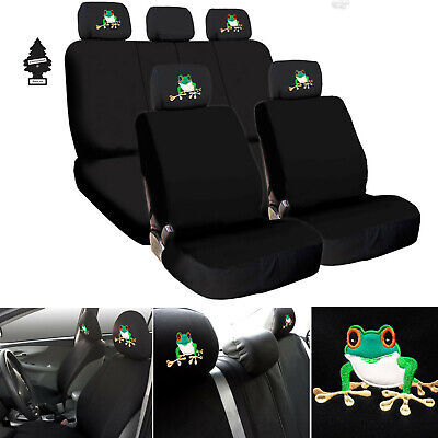For Chevrolet Black Fabric Car Truck SUV Seat Covers Full Set Frog Design Designer Black Fabric Seat