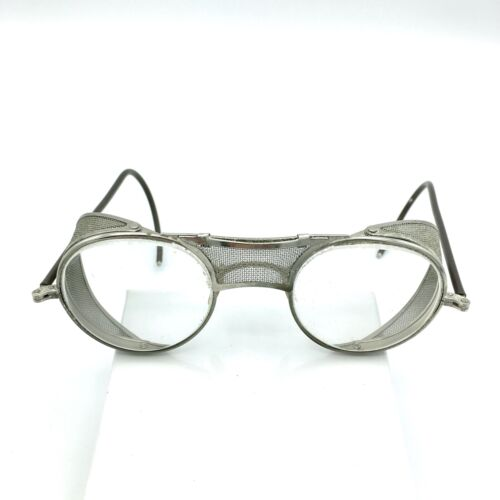 BAUSCH & LOMB vintage safety glasses - metal mesh side guards clear B&L goggles