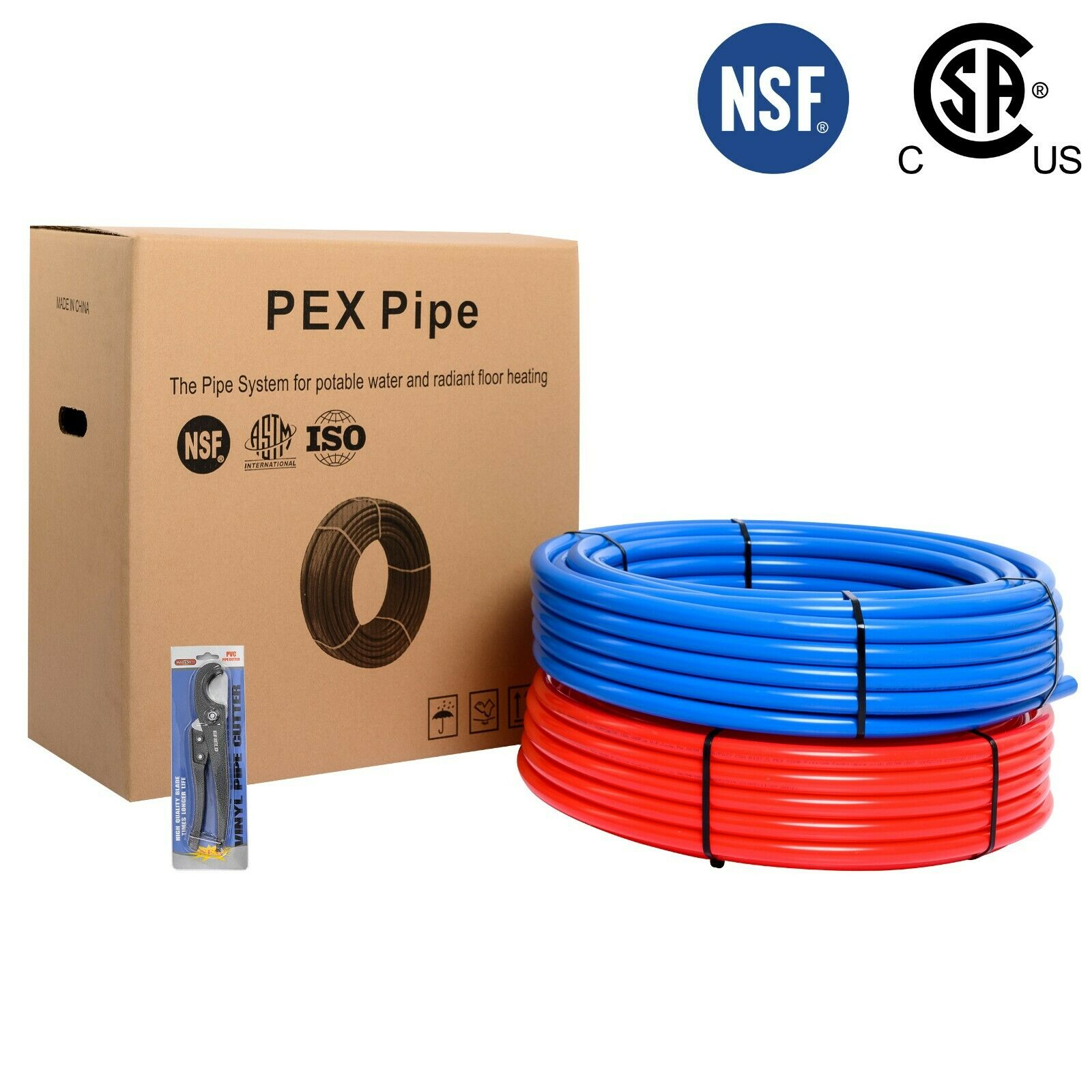 """2 Rolls 3/4"""" Pex  Pipe/Tubing 2X300ft  Red and Blue)NSF& Fre"""