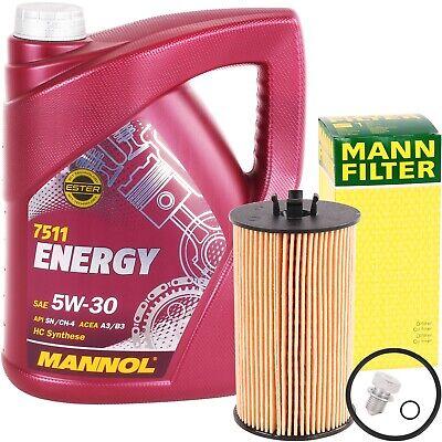 MANN-FILTER ÖLFILTER + 5 LITER MANNOL ENERGY 5W-30 MOTORÖL VW 502.00 505.00 5W30