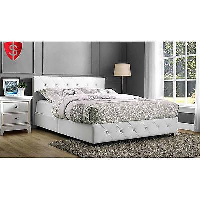 Upholstered Bed Queen Size Frame Platform Bedroom Furniture Faux Leather White