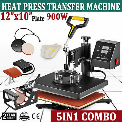 New 5 in 1 Digital Transfer Sublimation Heat Press Machine For T-Shirt Mug 12X10