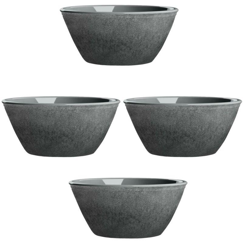 Potters Reactive Glaze GREY Melamine Low Bowl x 4