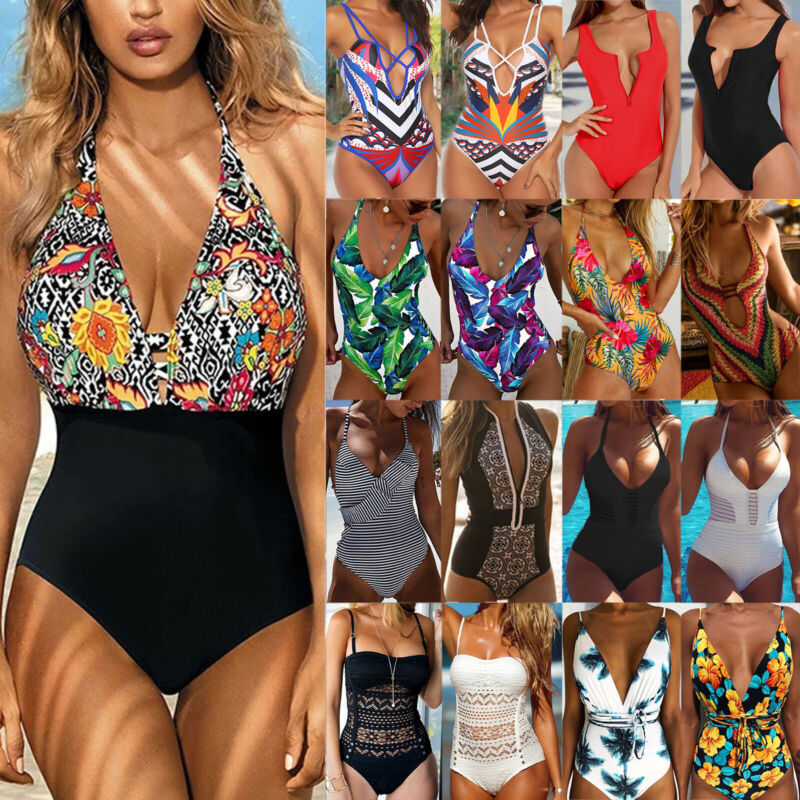 Damen Badeanzug Monokini Bikini Bademode Strand Padded One Piece Badebekleidung
