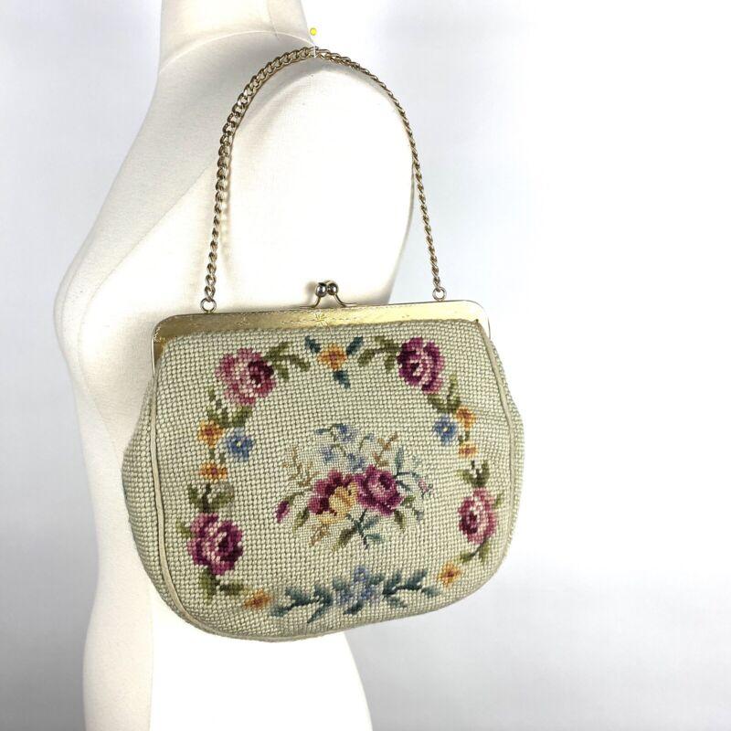 Vintage Handmade Floral Needlepoint Frame Handbag