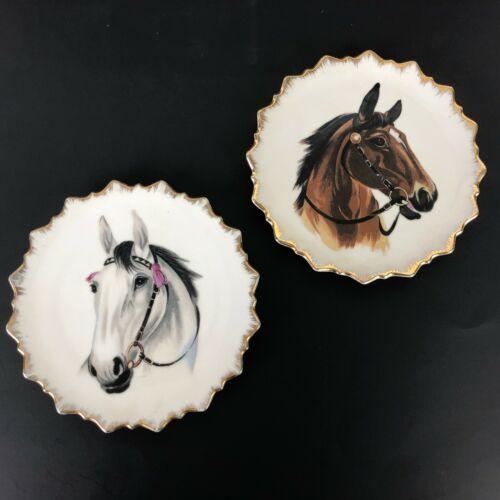 Vintage Original Artmark Horse Head Wall Plates Hand Painted Gold Western JAPAN