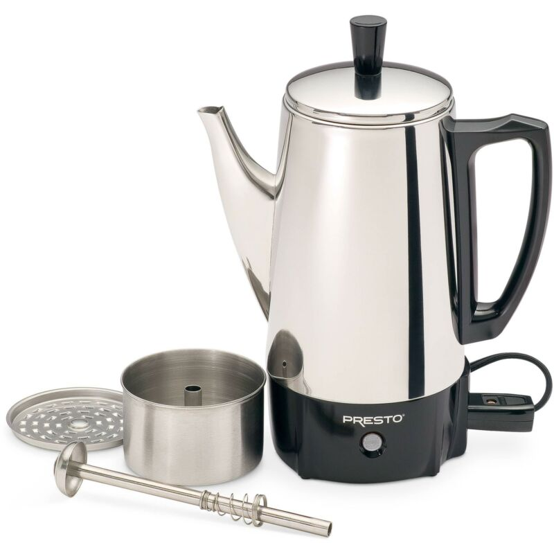6 Cup Coffee Percolator Coffee Maker Pot Stainless Steel Ele