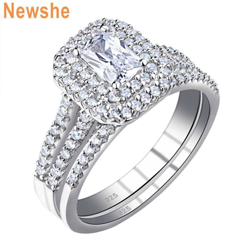 Newshe Wedding Engagement Ring Set For Women Emerald Cz 925 Sterling Silver 5-10