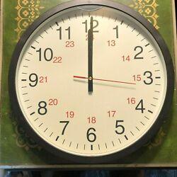 Universal 24-Hour Round Wall Clock, 12.63 Overall Diameter, Black Case