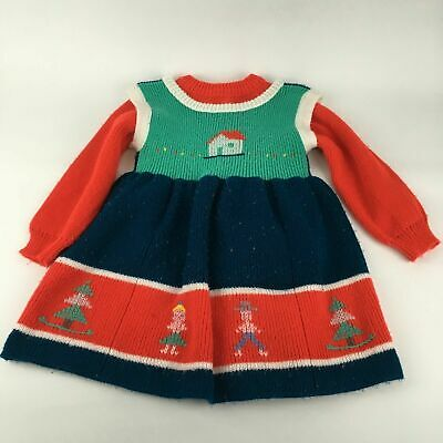 VTG 80s Acrylic Sweater Jumper Dress 2T 3T Matching Xmas Outfit Set Folk Holiday