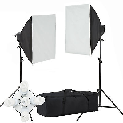 - 2000W Softbox Light Kit Photo Studio Video Photography Lighting Stand Continuous