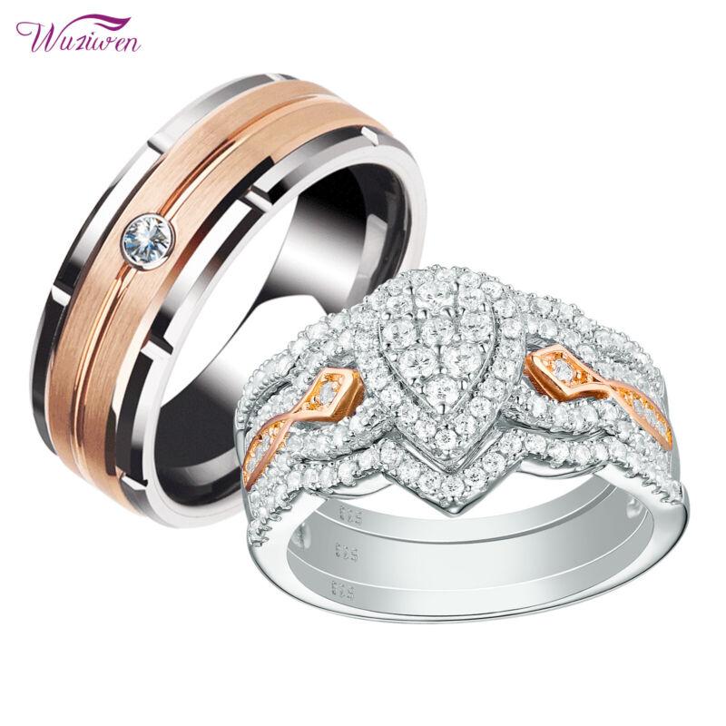 Wuziwen Wedding Rings Set For Him Her Women Men Brown Tungsten Band Rose Gold Cz