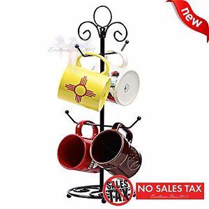 Decorative Coffee Tea Mug Tree Cup Holder Rack Hooks Stand Kitchen Organizer NEW