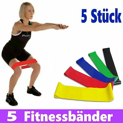 5er Set Fitnessbänder Sport Fitnessband Widerstandsband Gummiband Gymnastikband