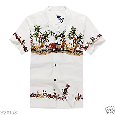 Men Aloha Shirt Cruise Tropical Luau Party Hawaiian White Vintage Cars Surf Palm (Hawaiian Shirt Party)