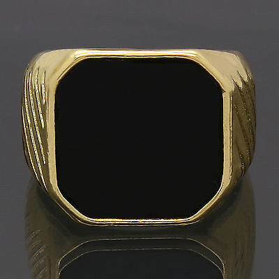 Mens 14K Gold Plated Iced Out Hip Hop Style Black Top Bling Pinky Ring