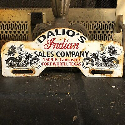 Vintage Dalio's Indian Sales Company Metal License Plate Topper Motorcycle Sign