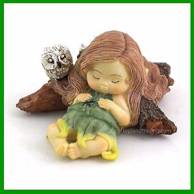 Miniature Dollhouse FAIRY GARDEN Little Fairy Sleeping with Owl Figurine 4260