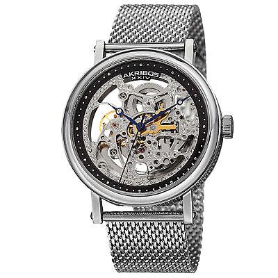 Men's Akribos XXIV AK732SSB Automatic Skeleton Silver-tone Stainless Steel Watch