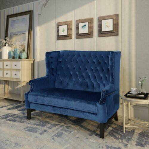 Linsey High Back Tufted Winged New Velvet Loveseat Furniture