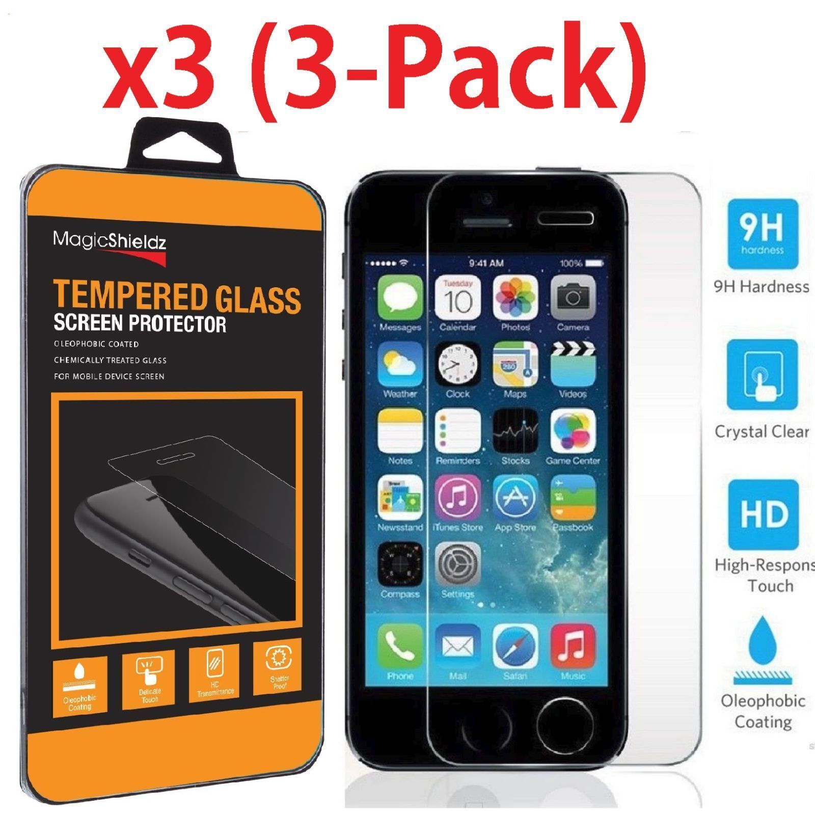 MagicShieldz® Premium Tempered Glass Screen Film Protector for iPhone 5S 5C 5