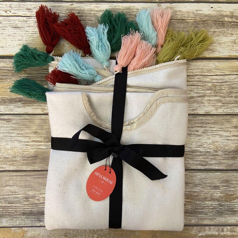 """OpalHouse Tassel Christmas Tree Skirt Wool Blend 50"""" Diameter Cream Boho"""