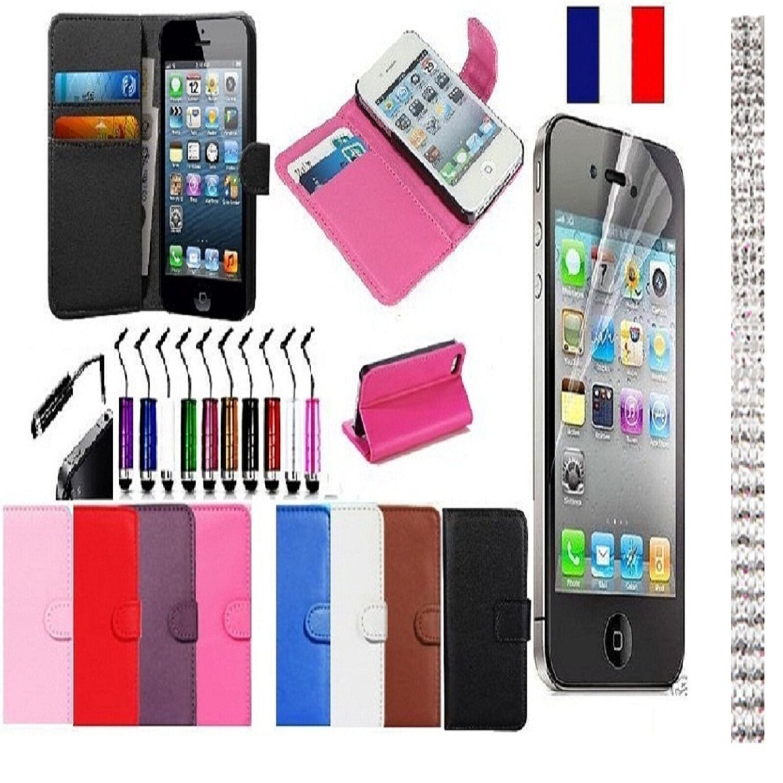 Etui coque housse iphone 4 4s ou 5 5s cuir carte credit for Housse cuir iphone 4
