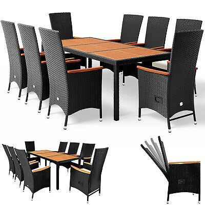 DEUBA® Poly Rattan Sitzgarnitur Sitzgruppe 8+1 Gartenmöbel Essgruppe Garten Set
