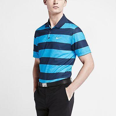 Men's Nike Golf Victory Bold Stripe Standard Fit S/S Polo Shirt NEW Blue , $65