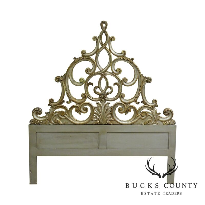 Rococo Style Carved Silver Gilt Wood Queen Headboard