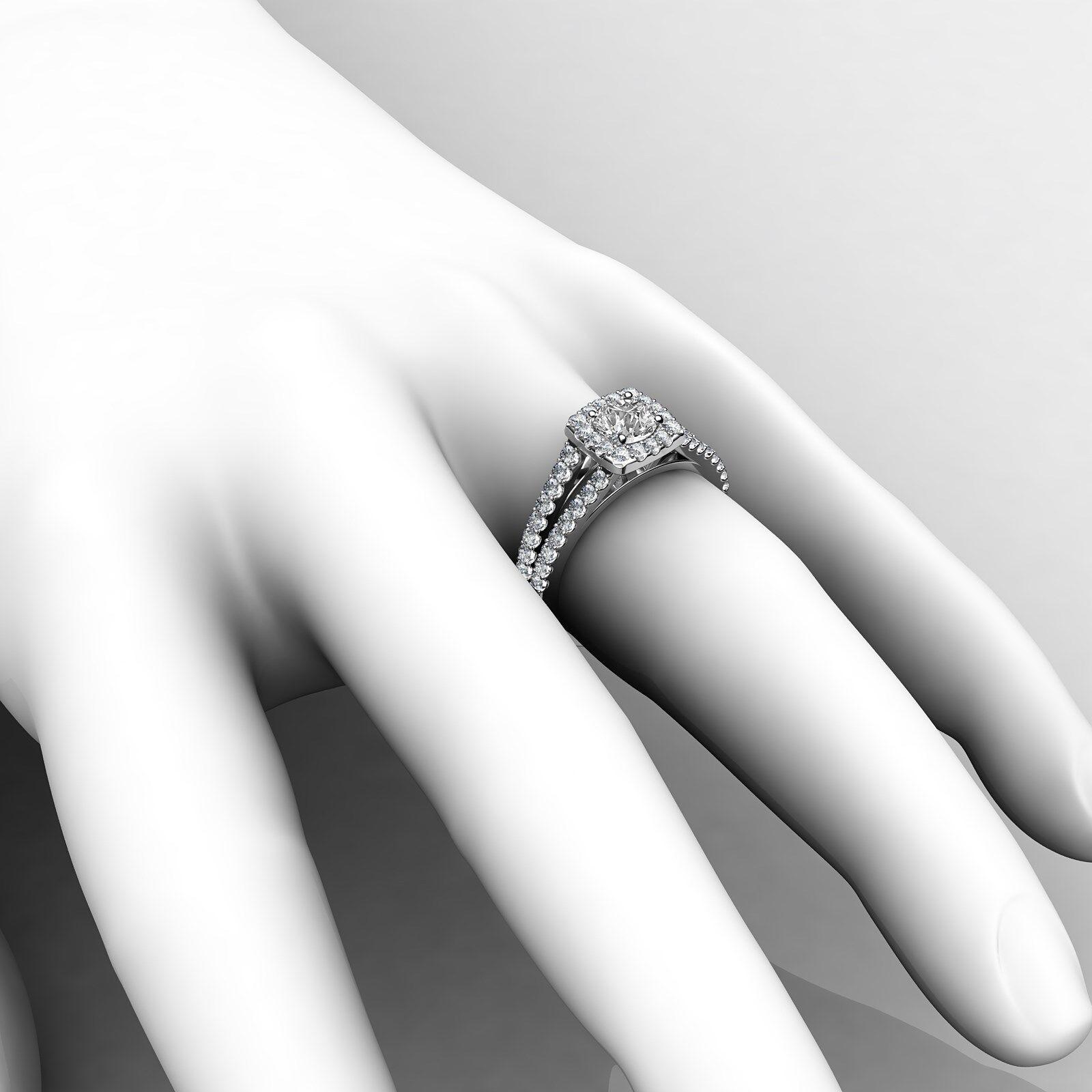 Round Diamond Engagement Halo Split Shank Ring GIA E VVS1 14k White Gold 1 1/4ct 8