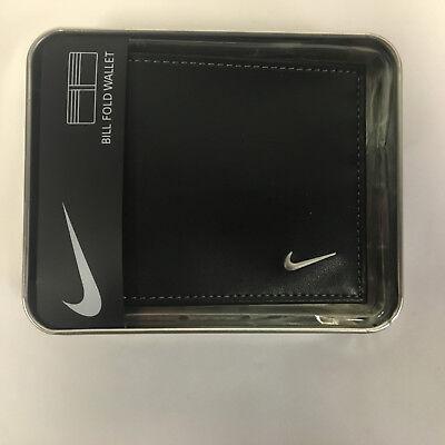 NIKE GOLF BILLFOLD Wallet Men's Bi Fold Black Leather Grey Stiching 63858 Fold Black Leather