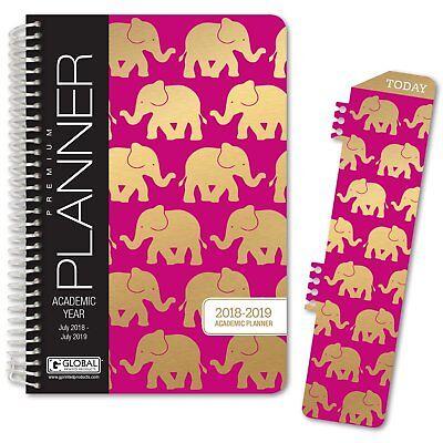 Hardcover Academic Year Planner 2018-2019 Elephants