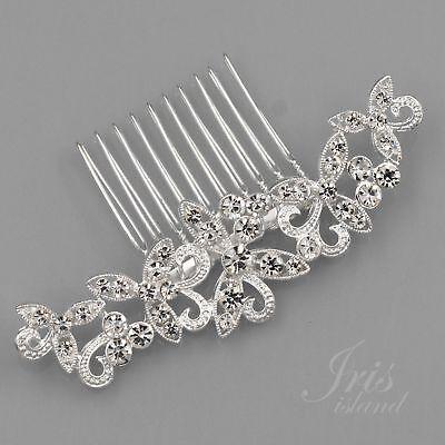 Bridal Hair Comb Clear Crystal Headpiece Wedding Hair Accessories 05320 Silver