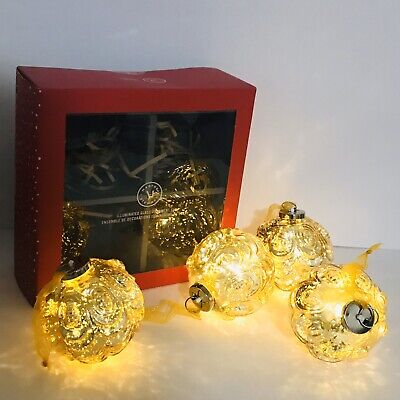Martha Stewart Illuminated Glass Ornament Set of 4 Bedford Collection Gold Works