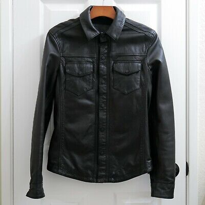 All Saints Men's Leather Jacket Shirt Black Size XS