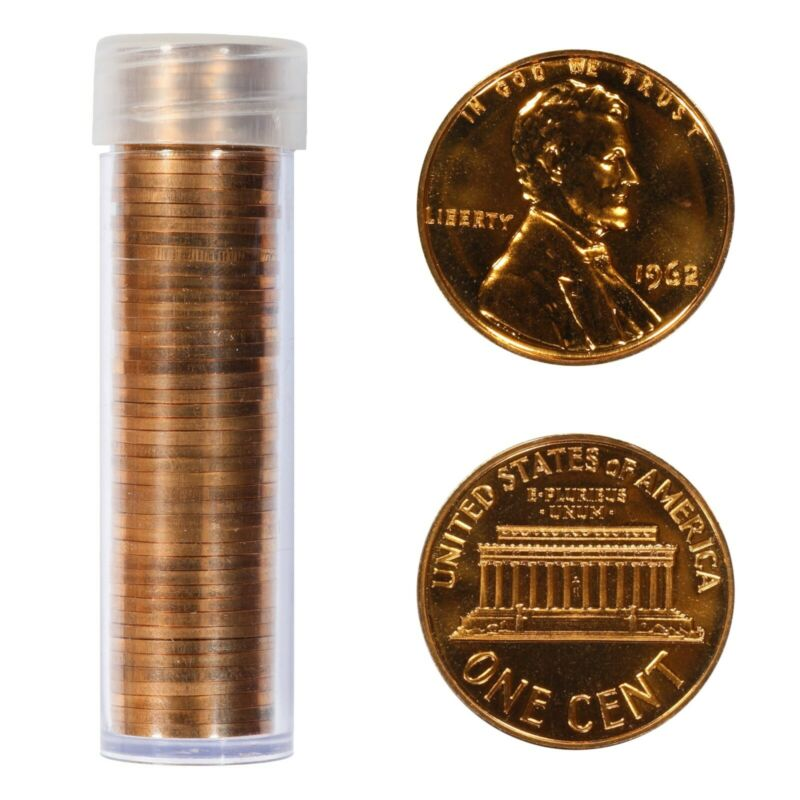 1962 1C LINCOLN MEMORIAL CENT PENNY GEM PROOF RED  FULL ROLL 50 COINS