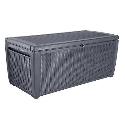 Keter Sumatra Rattan Effect Garden Storage Box - Grey / 511L - 382666 (BJ80)