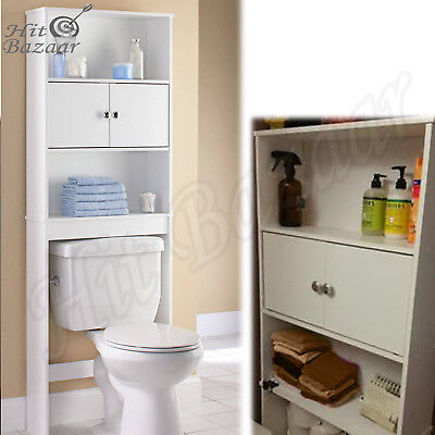 OVER THE TOILET Storage Organizer Wood Bathroom Spacesaver Towel Rack Cabinet