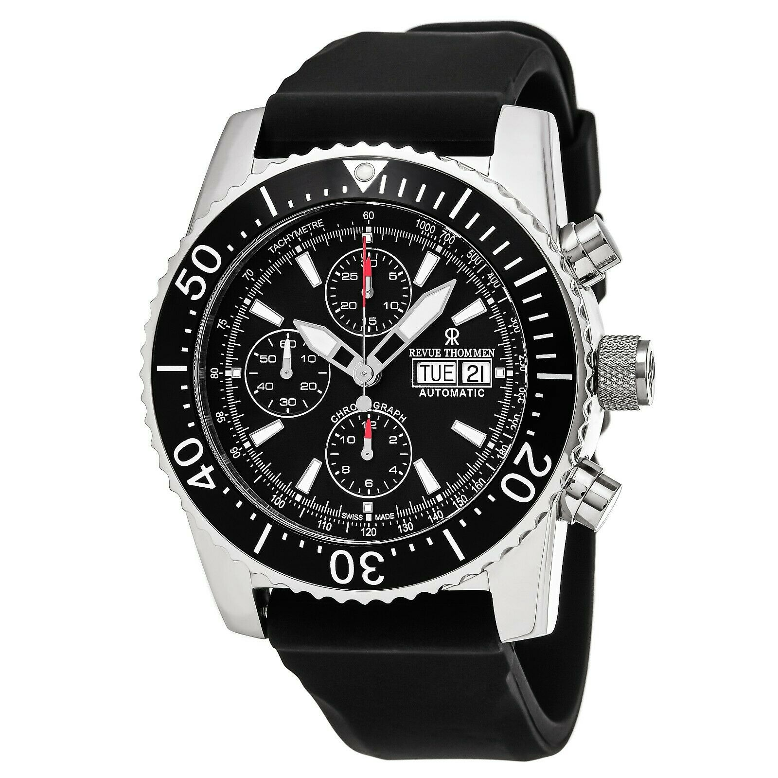 Revue Thommen Air Speed Black Dial Black Rubber Strap Automatic Watch 170306534