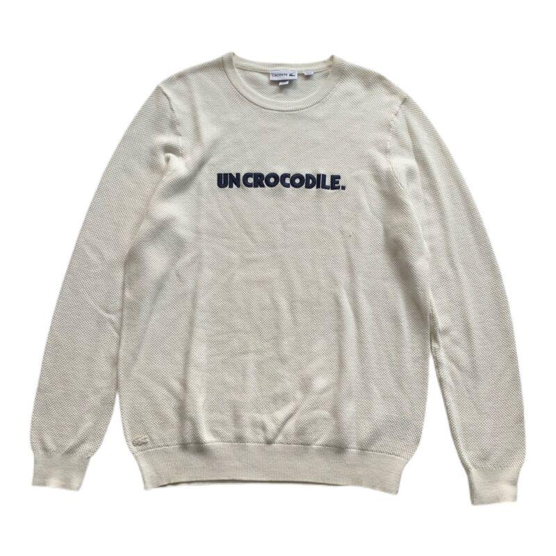 Vintage Lacoste Uncrocodile White Pullover Lightweight Sweater Men