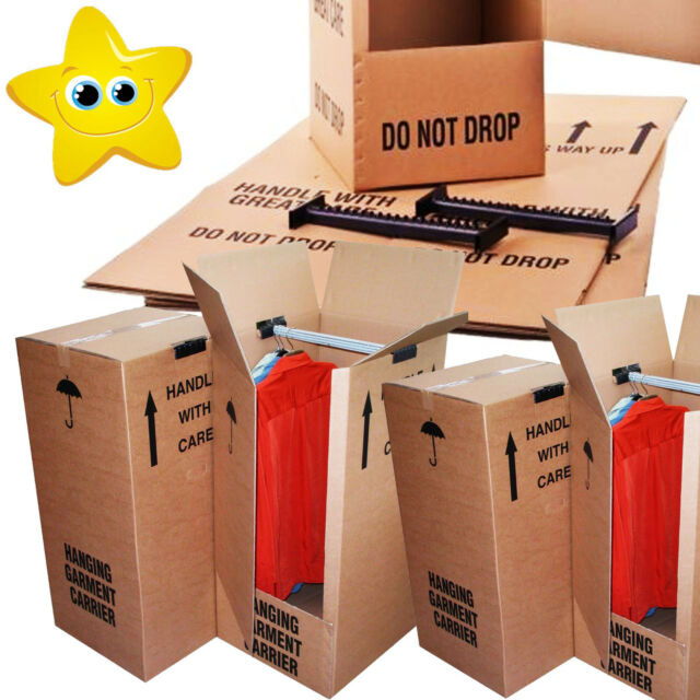 10 STRONG REMOVAL MOVING WARDROBE CARDBOARD BOXES 24HRS