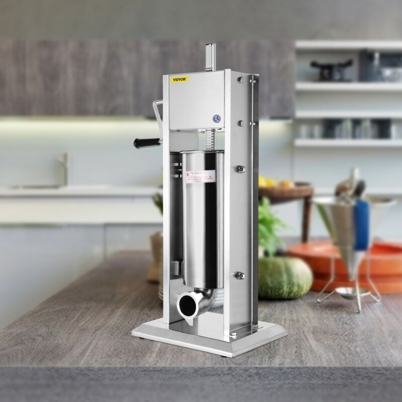 VEVOR New Sausage Stuffer Vertical Stainless Steel 5L 2 Speed Meat Filler Press
